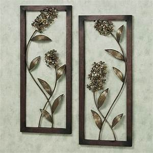 Hydrangea glow metal wall art panel set for Panel wall art