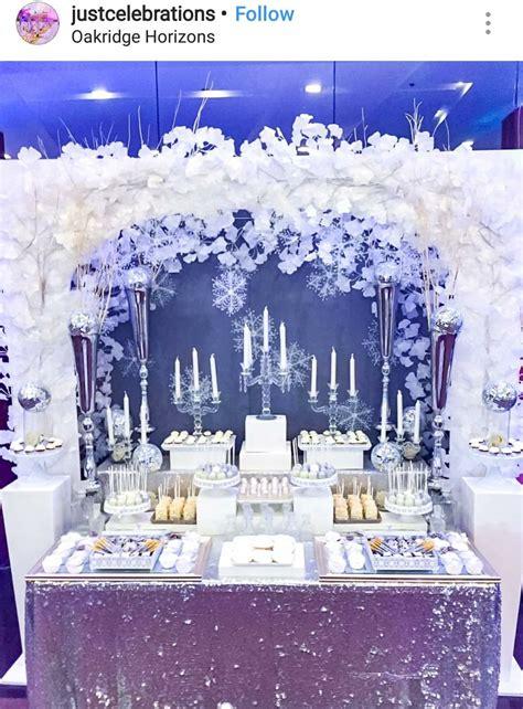 winter wonderland dessert table and decor winter