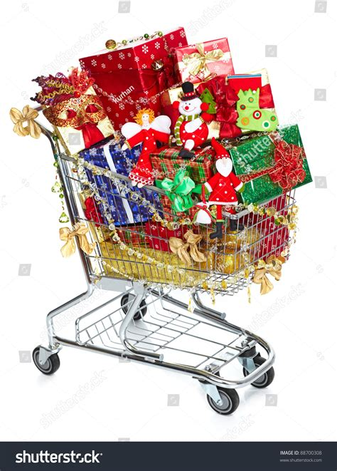shopping cart christmas gifts presents isolated stock