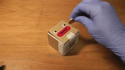 Box Cardboard Coin Put Money Open Mouth