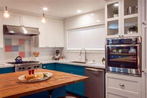 bright teal  white bakers kitchen hgtv