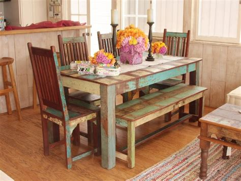 Dining Room Set With Bench, Reclaimed Barnwood Dining Room
