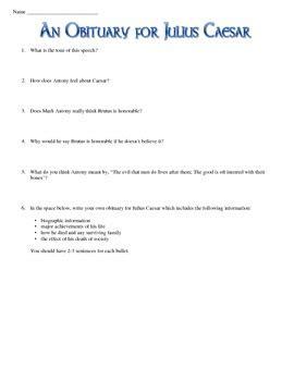 julius caesar obituary shakespeare analysis worksheet by
