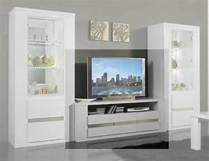 Meuble Tv Blanc Laqué : meuble tv plasma tania laque blanc blanc metal ~ Teatrodelosmanantiales.com Idées de Décoration