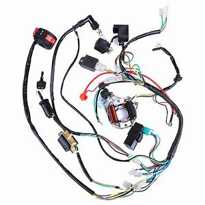 50 70 90 110 125cc Mini Atv Complete Wiring Harness Cdi Stator Ignition Electric