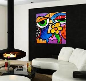 tableau abstrait abstract face With panneau de couleur peinture murale 2 conceptart deco