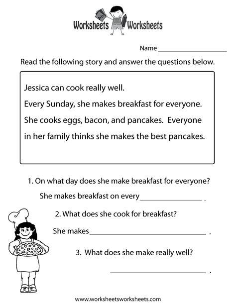 Freeeducationcomworksheets For Second Grade   Comprehension Test Worksheet Free