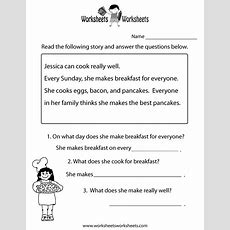 Freeeducationcomworksheets For Second Grade   Comprehension Test Worksheet Free