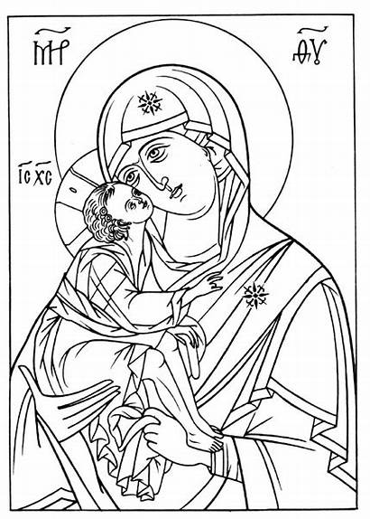Coloring Orthodox Icons Pages Icon Mary Religious