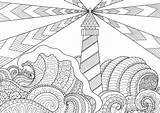 Lighthouse Coloring Pages Adult Adults Printable Line Vector Seascape Etsy Stress Anti Verkauft Produkt Von Kunst Leuchtturm sketch template