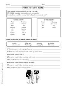 Greek And Latin Roots Worksheet For 4th  5th Grade  Lesson Planet