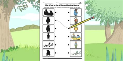 the wind in the willows shadow matching worksheet shadow
