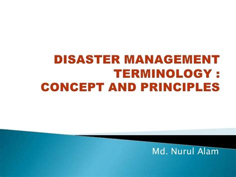 Disaster Management Terminology
