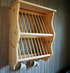 double kitchen plate rack shelf solid pine wood wall mounted wooden ebay