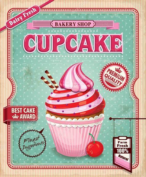 affiche cuisine vintage vintage cupcake poster design stock vector donnay