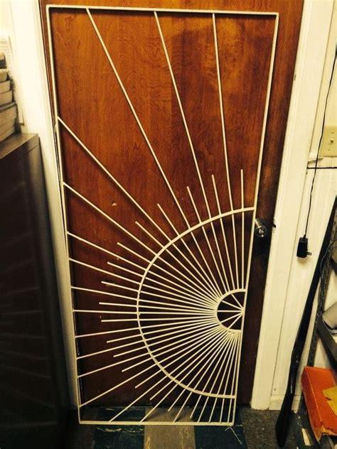 mid century metal sunburst screen door grille danish