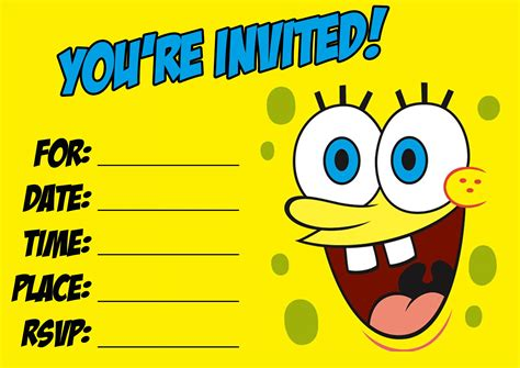 spongebob birthday card template pin by cynthia on cards birthday invitations