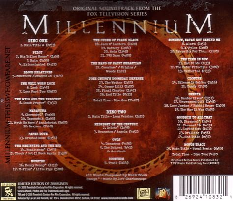 You can download free mp3 as a separate song and download a music collection from any artist, which of course will save you a lot of time. Millennium Limited Edition Original Soundtrack (Vol 1) by ...