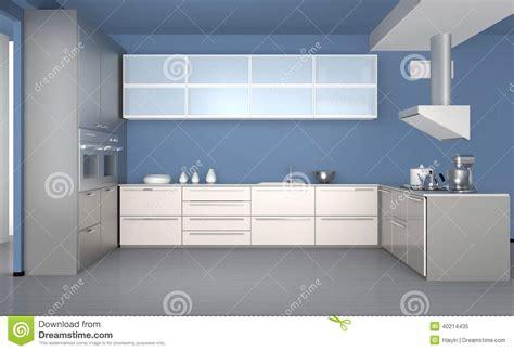 le de cuisine intérieur moderne de cuisine avec le papier peint bleu
