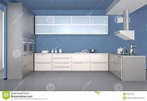 Papier Peint Cuisine Moderne : int rieur moderne de cuisine avec le papier peint bleu ~ Dailycaller-alerts.com Idées de Décoration