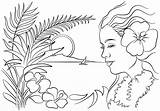 Hawaii Coloring Hawaiian Pages Printable Luau Flowers Flower Woman Templates Tiki Themed State Crafts Colouring Hawai Clipart Adult Theme Drawing sketch template