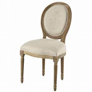 Chaise Médaillon Maison Du Monde : chaise m daillon en lin beige et ch ne gris louis maisons du monde ~ Teatrodelosmanantiales.com Idées de Décoration