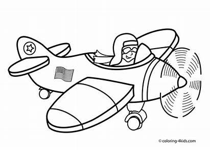 Coloring Airplane Cartoon Pilot Vehicles Drawing Printable