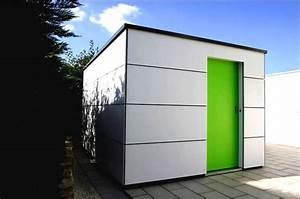 Moderne gartenh user aus metall mit gartenhaus flachdach for Moderne gartenhäuser aus metall