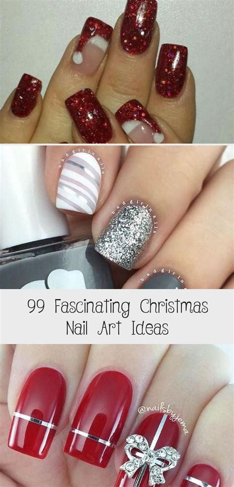 Tutorial on red and white christmas nails. Hair Styles - in 2020   Christmas nails, Christmas nail art, Nails