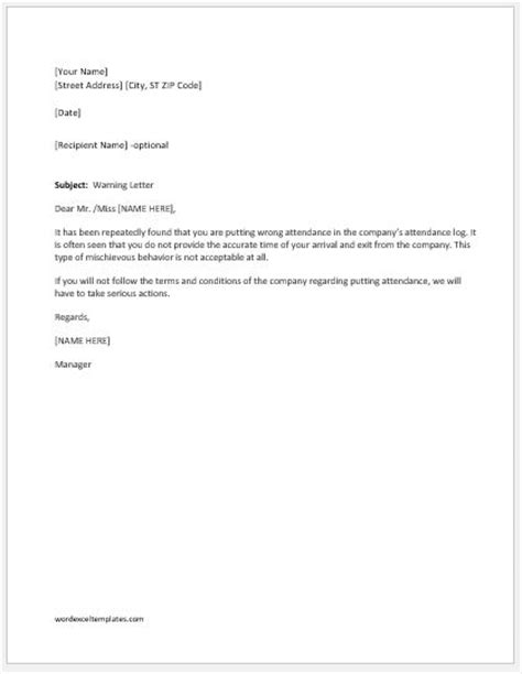 Warning Letter for Putting Wrong Attendance | Word & Excel