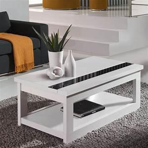 Table Laquee Blanc : table basse relevable noir et blanc ~ Premium-room.com Idées de Décoration