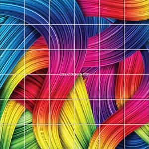 Deco Multicolore : stickers carrelage mural d co design multicolore stickers muraux deco ~ Nature-et-papiers.com Idées de Décoration