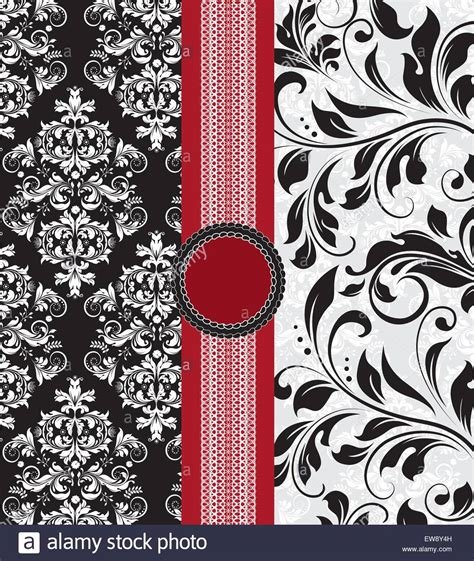 Abstract Black Ribbon Black Background Design by Vintage Background With Ornate Abstract Floral