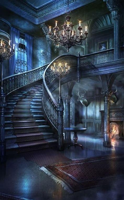 haunted mansions fantasy landscape gothic house anime