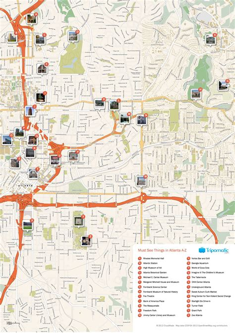 atlanta printable tourist map  tourist maps