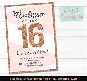 Make Your Own Invitations For Free Printable Printable Rose Gold Or Copper Glitter Birthday Invitation
