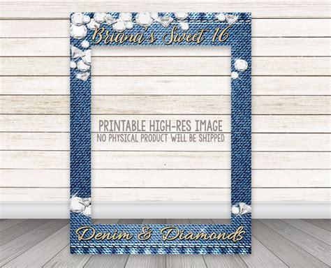 Backdrop Denim Themed by Printable Denim Diamonds Photo Booth Frame Gold