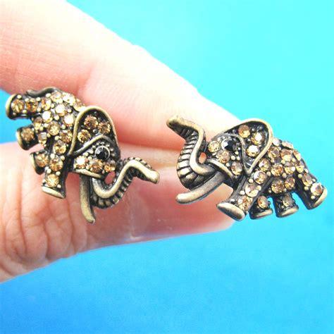 unique elephant animal stud earrings  bronze