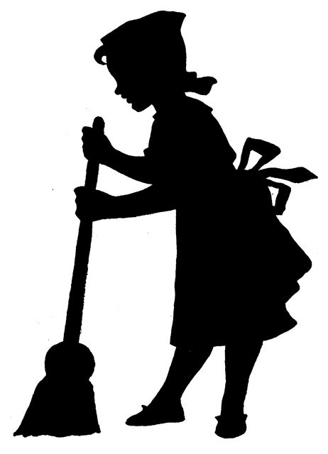girl sweeping floor clipart