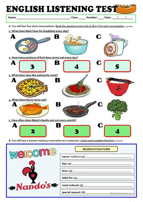 listening test listening a1 test food esl worksheets