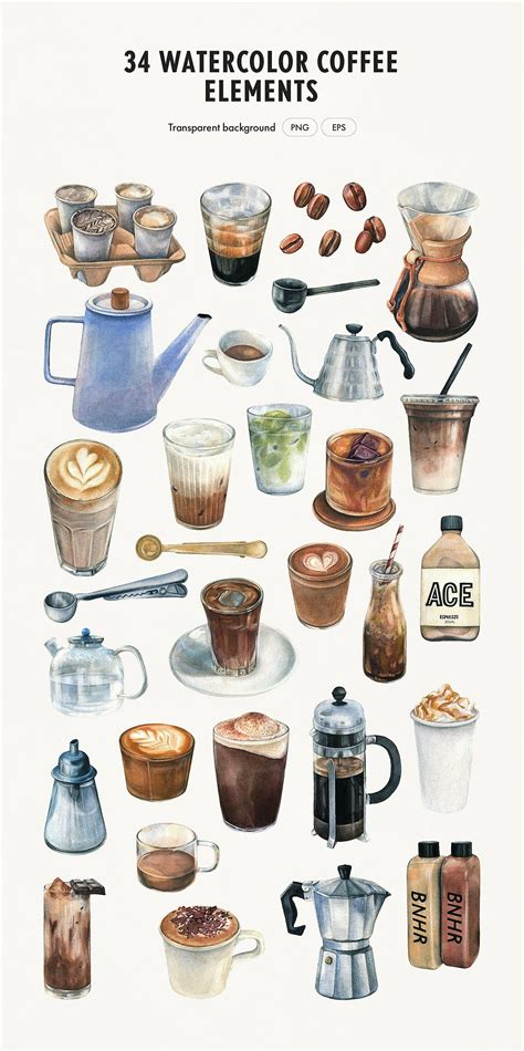 23 different stock platforms from around the world are in one place! Watercolor Coffee Bundle (With images) | Coffee watercolor, Coffee illustration, Watercolor clipart