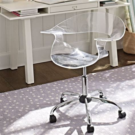 acrylic swivel desk chair acrylic swivel chair office chairs other metro by pbteen