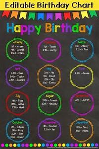 Chalkboard Bunting Birthday Chart Editable Birthday