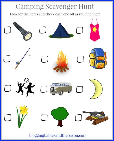 camping  kids childrens camping themed printables