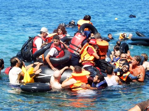 Syrian Refugees Boat by Israeli Aid Workers Rescue Refugees Coast The