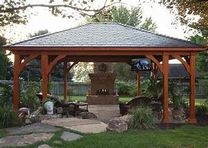 gazebo fireplace pool traditional with covered patio
