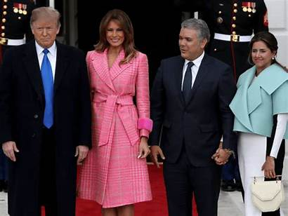 Trump President Donald Colombia Melania Meets Lady