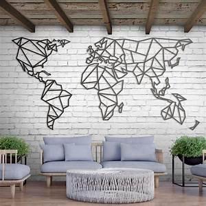 Deco Metal Mural : yeni metal deco world map xxxl art work world map wall art industrial wall art et wall ~ Nature-et-papiers.com Idées de Décoration