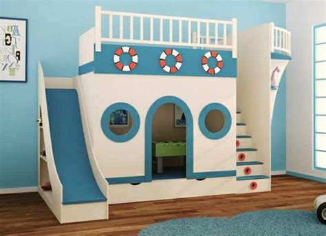Kinderzimmer Junge Schiff by Spielbett Mit Rutsche Blau Und Wei 223 Wie Ein Schiff
