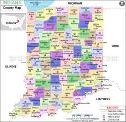 Indiana Counties Map with Cities